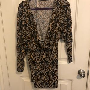 Dresses & Skirts - Paisley Beige long sleeve body con dress
